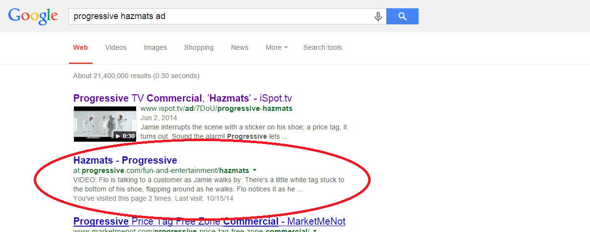 Progressive Hazmats Ad Screenshot 404 Google search