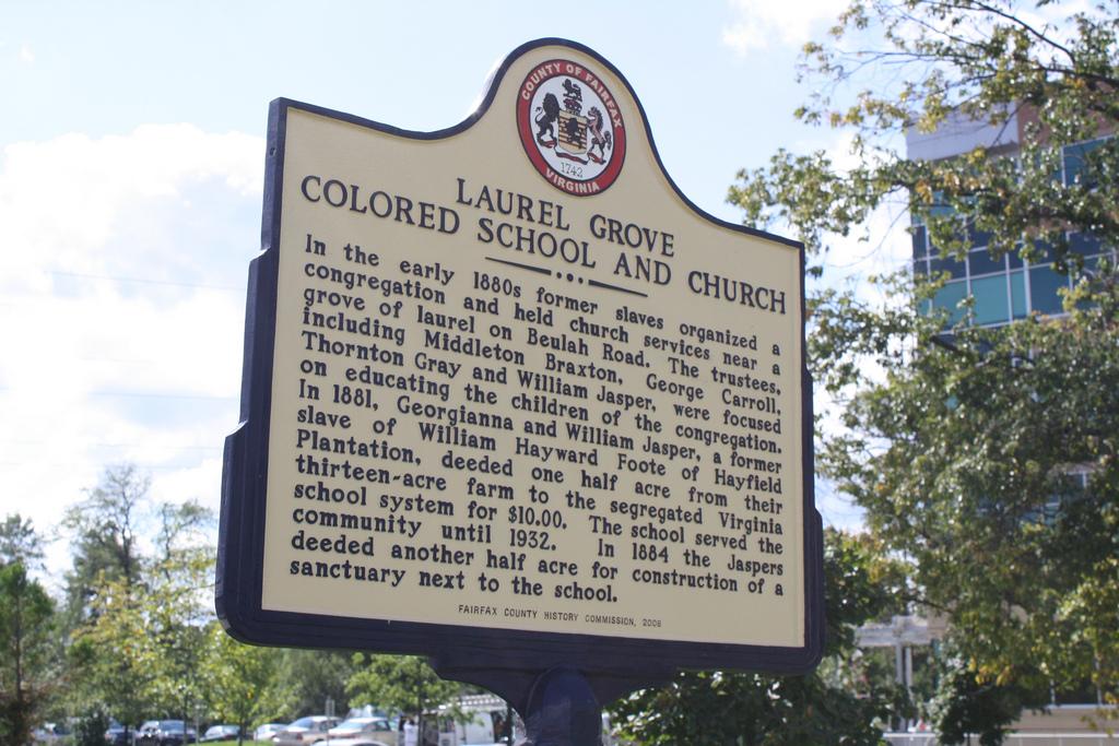 Laurel Grove Colored School Church Sign Fairfax