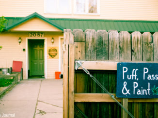 An exterior shot of Puff, Pass and Pottery in Denver on Friday, April 14, 2017. The building hosts other creative cannabis themed efforts, including paint and creative writing events. By Jonathan Rose