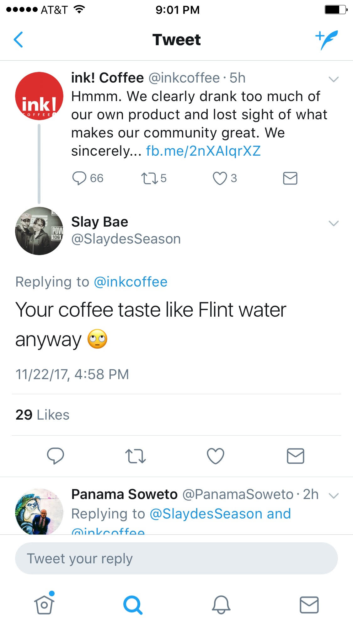 Ink Coffee Twitter response